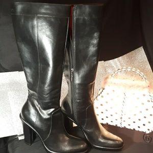 Tommy Hilfiger Black Knee Leather Heel Boot